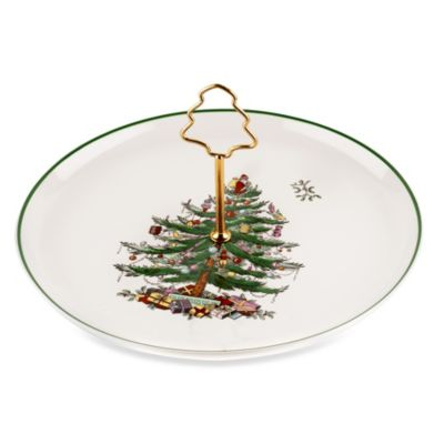 Spode® Christmas Tree 10-Inch Cake Plate with Tree Handle