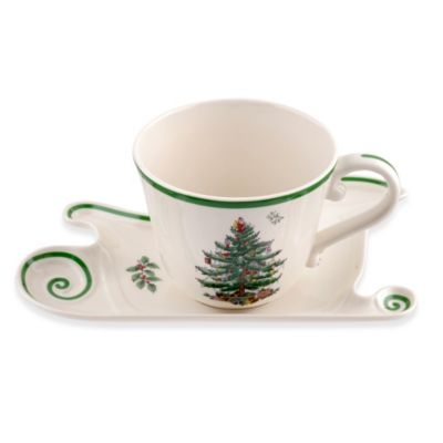 Spode® Christmas Tree 18-Ounce Jumbo Cup and Sleigh Saucer