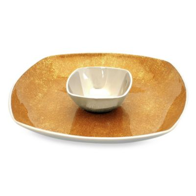 Simplydesignz 14-Inch Bodoni Chip & Dip Set in Gold