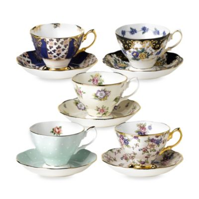 Royal Albert 100 Years 10-Piece Teacup and Saucer Set: 1900-1940