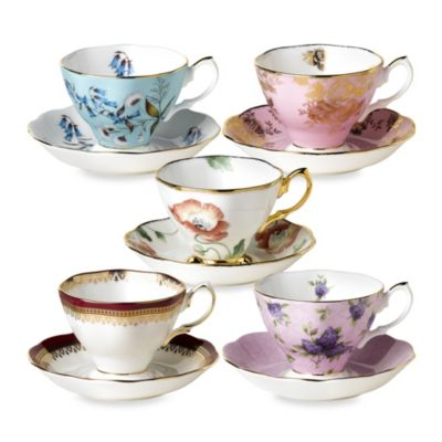Royal Albert 100 Years 10-Piece Teacup and Saucer Set: 1950-1990