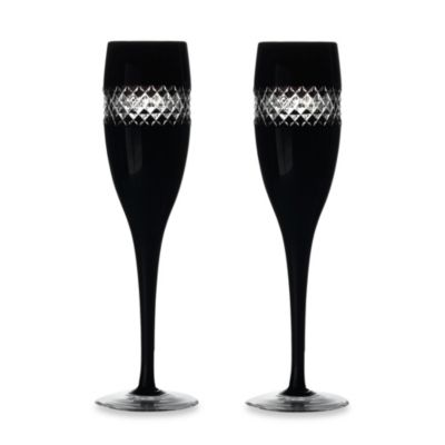 John Rocha at Waterford Black Cut Collection Champagne Flutes (Set of 2)
