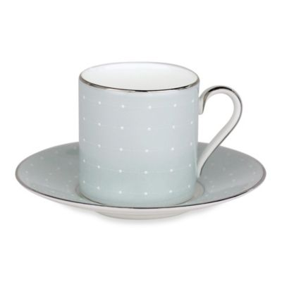 Monique Lhuillier Waterford® Etoile Platinum Espresso Cup and Saucer in Blue (Set of 2)