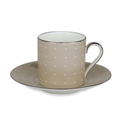 Monique Lhuillier Waterford® Etoile Platinum Espresso Cup and Saucer in Tan (Set of 2)