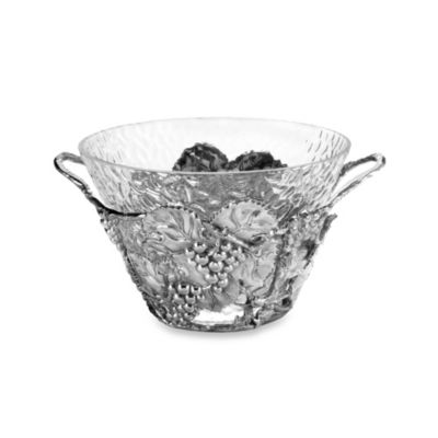 Arthur Court Designs Glass and Aluminum Grape Punch Bowl
