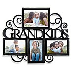 Grandkids 4-Photo Scroll Collage in Antique Black