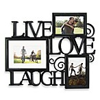 Three-Photo Live Love Laugh Scroll Wall Collage in Black