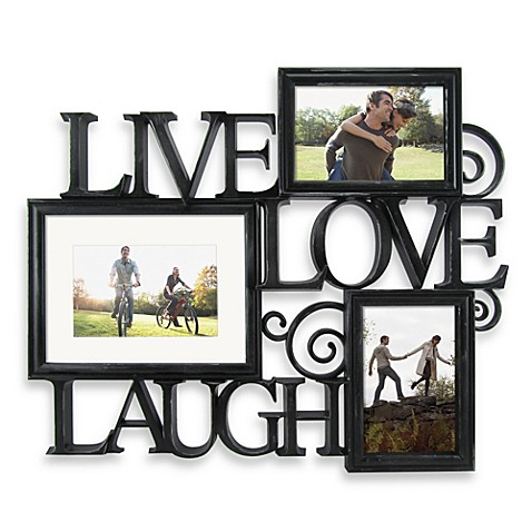 Three Photo Live Love Laugh Scroll Wall Collage In Black