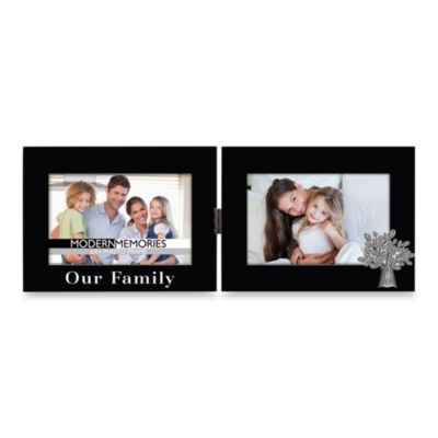 New View Our Family 4-Inch x 6-Inch Hinged Picture Frame