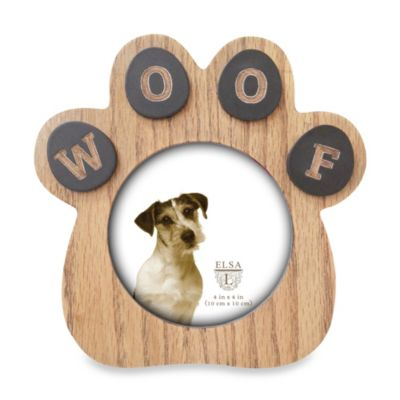 Elsa L Paw Sentiment Frame in Natural Wood