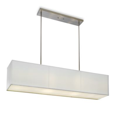 Sharper Image® Rectangular Pendant Lamp with Off White Linen Shade