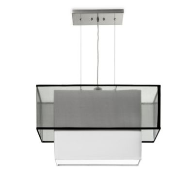 Sharper Image® Rectangular Pendant Lamp with Tiered Black Silk Shade