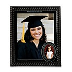 Black Ceramic Then and Now Photo Frame
