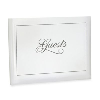 Wedding Guestbook in White and Silver
