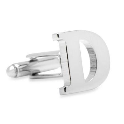 """Silvertone Letter """"D"""" Cufflinks"""