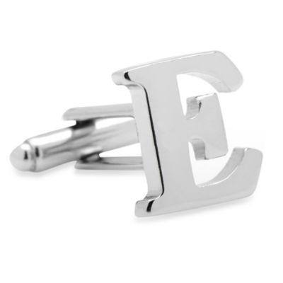 """Silvertone Letter """"E"""" Cufflinks"""