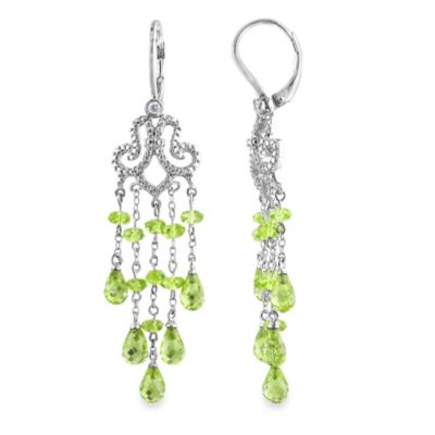 Sterling Silver Peridot and 1/10 CT Diamond Earrings