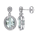 Green Amethyst and .005 cttw Diamond Pin Earrings