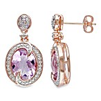 Rose de France and .005 cttw Diamond Pin Earrings