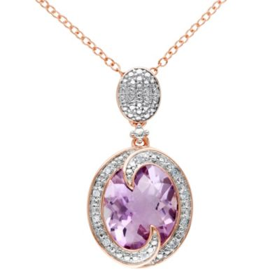 Rose de France and 0.05 ct Diamond Pendant with Pink Sterling Silver Chain