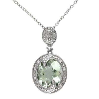 Green Amethyst and 0.05 ct Diamond Pendant with Sterling Silver Chain