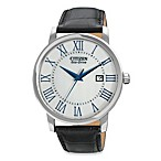 Citizen Men's Eco-Drive Stainless Black Leather Strap Watch