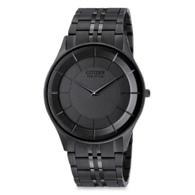 Citizen Men's Eco-Drive Stiletto Black Ion-Plated Stainless Bracelet Watch