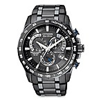 Citizen Men's Eco-Drive Black Perpetual Chrono A-T Stainless Bracelet Watch