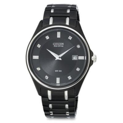 Citizen Men's Eco-Drive Diamond-Accented Stainless Black Bracelet Watch