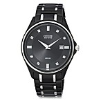 Citizen Men's Eco-Drive Diamond-Accented Stainless Black Bracelet Watch