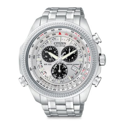 Citizen Men's Eco-Drive Silver Tone Stainless Multifunction Chronograph Bracelet Watch