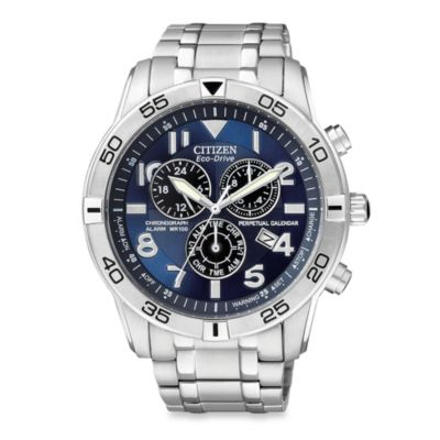 Citizen Eco-Drive Men's 44mm Perpetual Calendar Chronograph Watch in Stainless Steel
