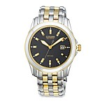 Citizen Men's Eco-Drive Two-Tone Stainless Black Dial Bracelet Watch