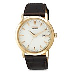 Citizen Men's Eco-Drive Gold-Tone Stainless Watch with White Dial and Date