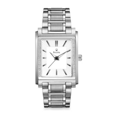 Bulova Men's Diamond Case Stainless Steel Silver Watch