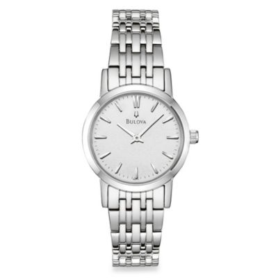 Bulova Women's Silver White Dial Bracelet Watch