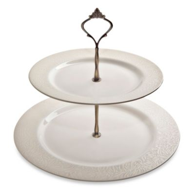 Denby Monsoon Lucille Gold Two-Tiered Cake Stand