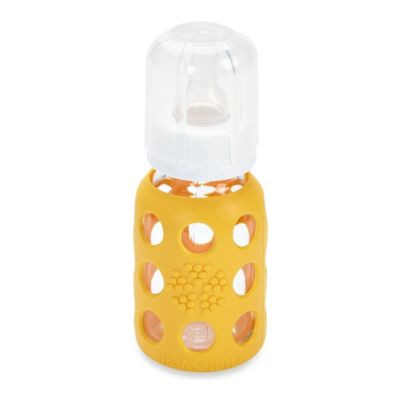 Lifefactory® 4-Ounce Glass Baby Bottle w/Silicone Sleeve in Yellow