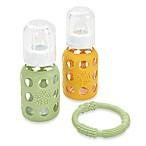 Lifefactory® 4-Ounce Baby Bundle 2-Pack w/Teether in Spring Green/Yellow