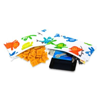 Itzy Ritzy® Mini Snack Happens™ Reusable Snack & Everything Bag in Monkey Mania (Set of 2)