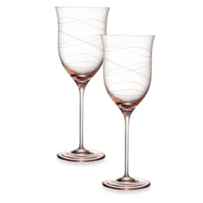 Nambe Crystal Pink 16-Ounce Motus Goblet - Set of 2