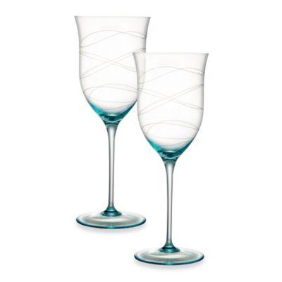 Nambe Motus 10-Inch Blue Goblet - Set of 2