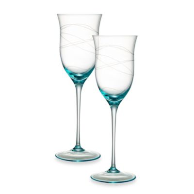 Nambe Motus 9-Inch Blue Wine Glass - Set of 2