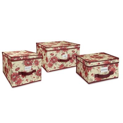The Laura Ashley® Collection Storage Boxes in Milner Cranberry