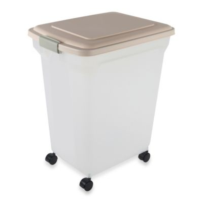 IRIS USA Large Airtight Mobile Pet Food Container in Almond