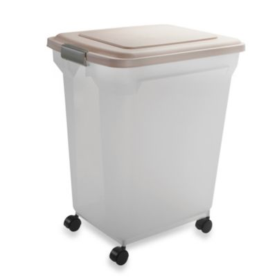 IRIS USA Extra-Large Airtight Mobile Pet Food Container in Almond