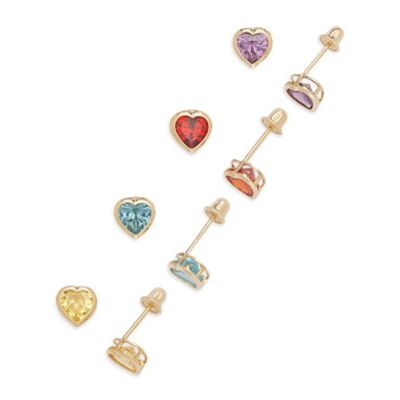 14K Yellow Gold Children's Colored Cubic Zirconia Heart Screw-Back Earrings