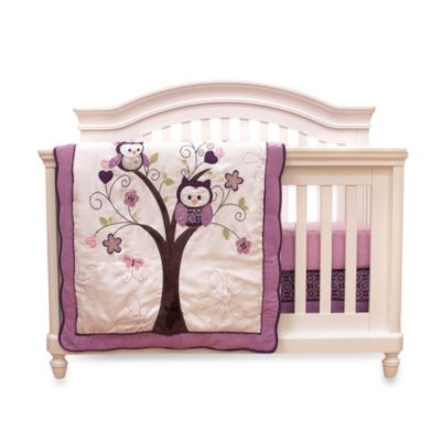 Baby's First by Nemcor Plum Owl Meadow Bedding > Baby's First by Nemcor 4-Piece Plum Owl Meadow Crib Bedding Set
