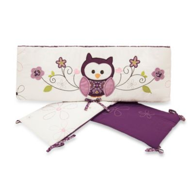 Baby's First by Nemcor 4-Piece Plum Owl Meadow Crib Bumper Set
