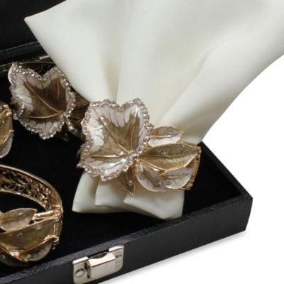 Carmona Leaf Gold Napkin Rings (Set of 4)